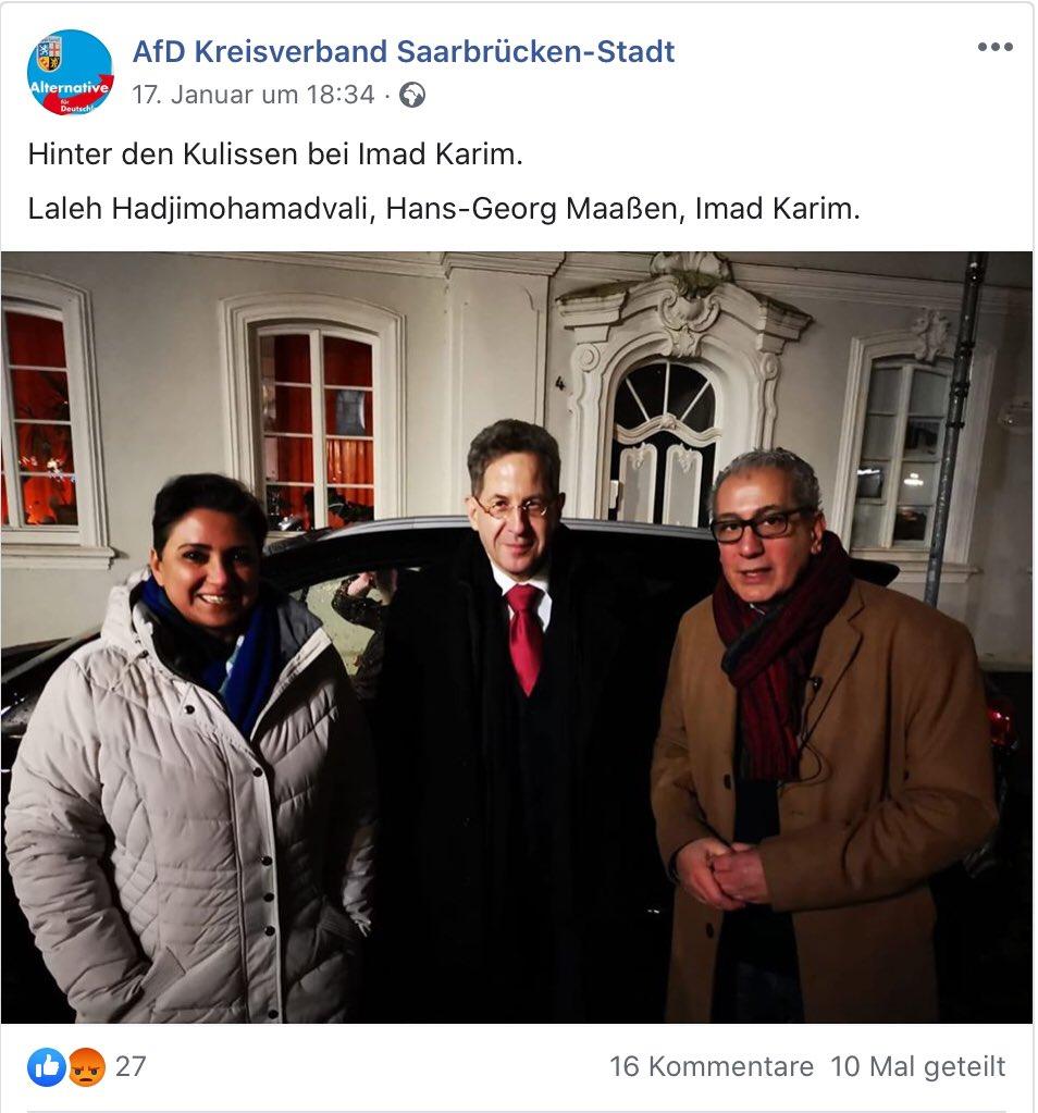 """Maaßen auf Tournee für die sog. """"Werte""""Union? Laleh Hadjimohamadvali (* 1972) ist eine iranische Politikerin in Deutschland und war Landtagskandidatin und Bundestagskandidatin der AfD im Saarland. pic.twitter.com/ddo2dLFxE5"""
