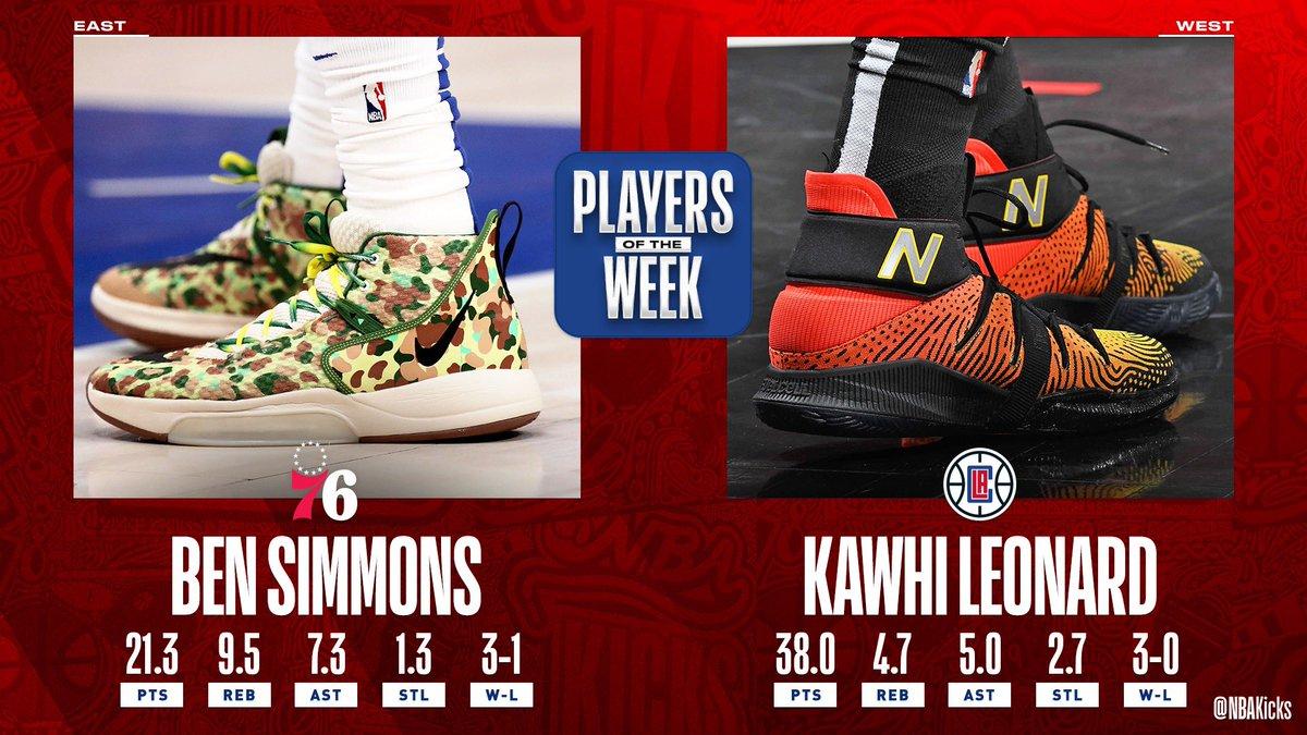 👏🏼 the NBA Players of the Week for Week 13! #NBAKicks  👟 @BenSimmons25 @kawhileonard