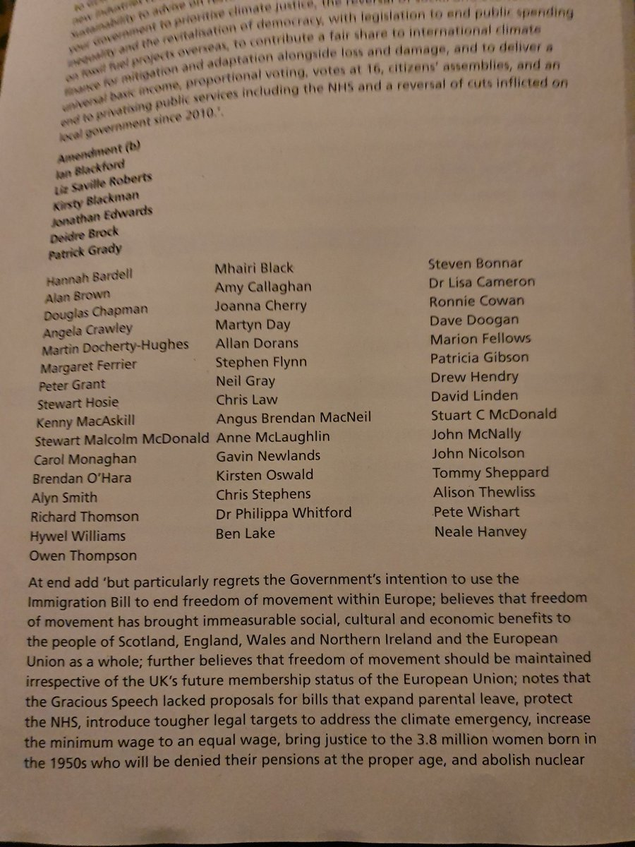 This is the SNP amendment to the Queens Speech. Labour are abstaining. Whats in here that they cant support?