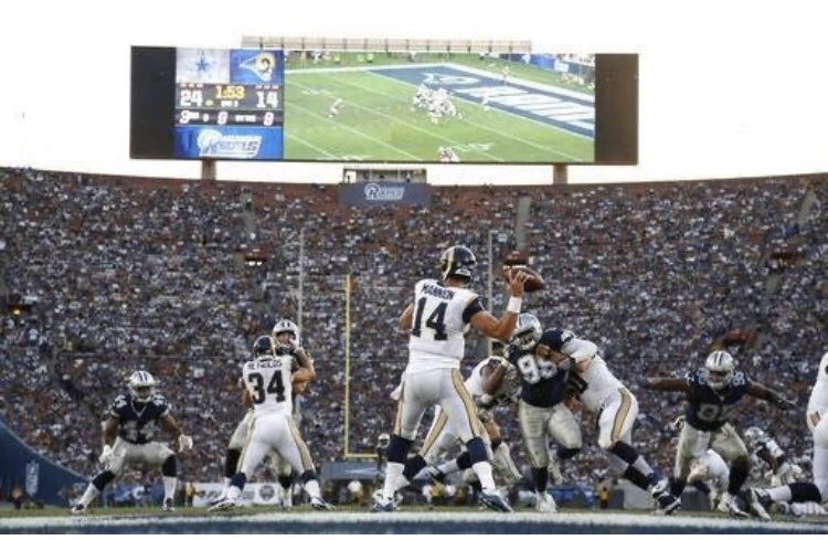 @frank_fedail @RamsrbacknLA @RamsNFL @SoFiStadium @dallascowboys You remember the first @RamsNFL game home @lacoliseum 8/13/16 vs @dallascowboys. It was a sea of #LARams fans. The same will be true in September 2020. 🐏🏈💙💛🏟 #LARams #GlassFromTheSky #SoFiStadium #LARvsDAL