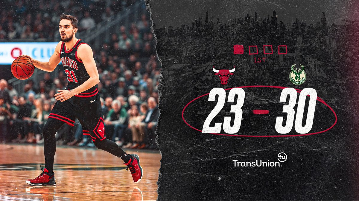 Hanging around after one in Milwaukee.   LaVine: 10pts/1reb Dunn: 7pts/2reb/1ast/3stl Kornet: 6pts/1reb