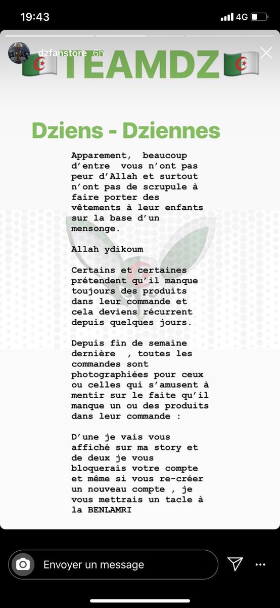 "DZFanstore is the exclusive distributor of Algeria national team merchandise, they have an exclusive contract with Adisas and the FA, look at this ""press release"", this is worse than amateur, this is just plain embarrassing to speak to your customers in this manner. Tbehdila. <br>http://pic.twitter.com/xooGJfR2kY"