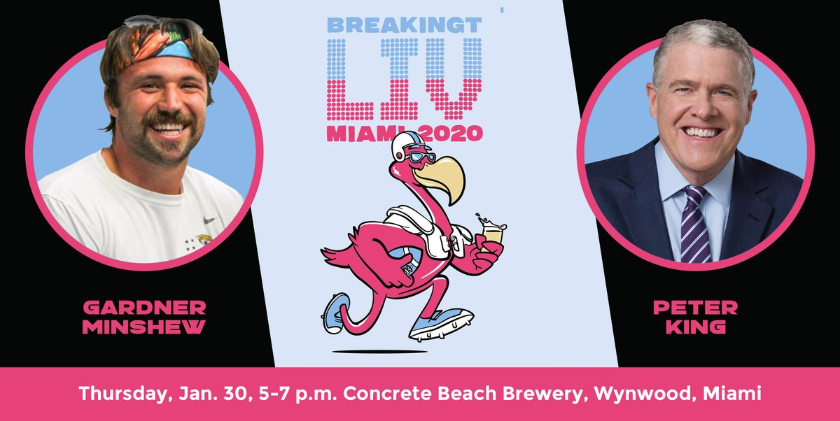 We are throwing a party in Miami next week with @GardnerMinshew5 + @peter_king!   Join us for a night of beer and football on Thursday, Jan. 30, 5-7 p.m., at @ConcreteBeachFL Brewery in Wynwood, Miami.  Details + Tickets: https://www.eventbrite.com/e/breakingt-presents-beers-football-with-gardner-minshew-and-peter-king-tickets-88748231349 …pic.twitter.com/kcH9r7I8XM