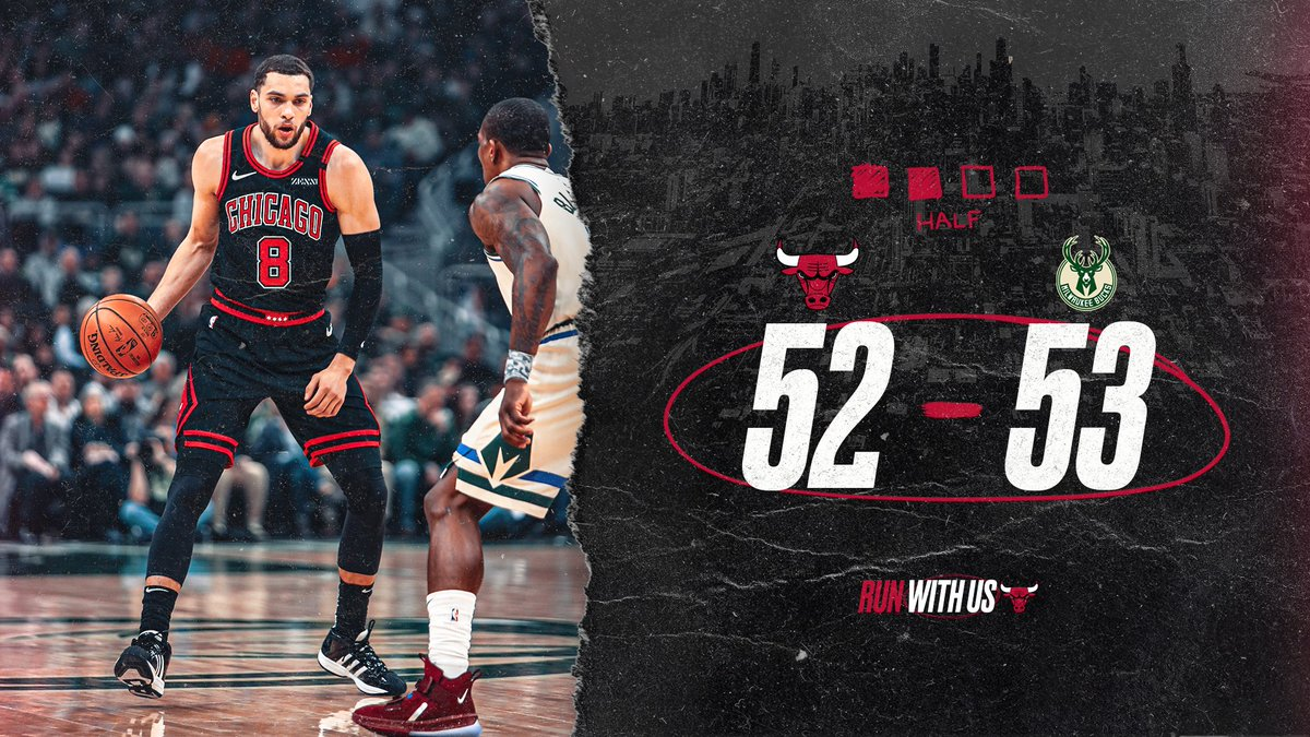 Strong first half in enemy territory.  LaVine: 12pts/2reb/1stl Markkanen: 8pts/7reb Dunn: 7pts/2reb/1ast/3stl