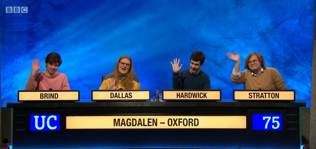 I'm sad our #UniversityChallenge is over. I had endless fun quizzing with my team, and I'm utterly grateful to the producers for enabling us to quiz together on TV.Dominic, Josie, Harry and (res.) Dan - you are all wonderful, brilliant people. It's been an honour and a joy <3