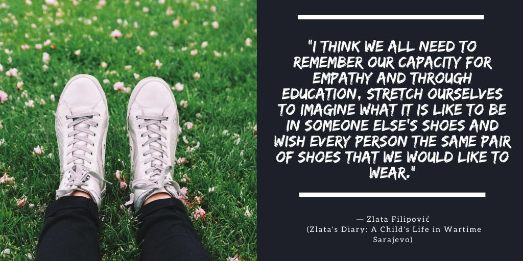 Es QOTD. Let's never forget to have compassion, to be generous, and to value every single person we meet. [] @BTS_twt   #BTSBookClub #BTSBC_QOTD #BTS #MapOfTheSoul7 #WalkAMile #YouAreValued #Compassion #ARMYFamily<br>http://pic.twitter.com/gmsyCzdJaU