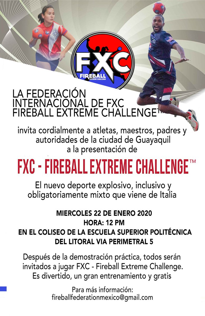 """FXC - Fireball Extreme Challenge lands to Ecuador tomorrow. For those of you who are """"around"""" you are all invited to join!  #teamtnt #explosivepower #adaptability #genderparity #makethefuture #teamsports #youthfitness #extremsport #equalityforeveryone #meettheteam #inclusivepic.twitter.com/ELRnKuwzf7"""