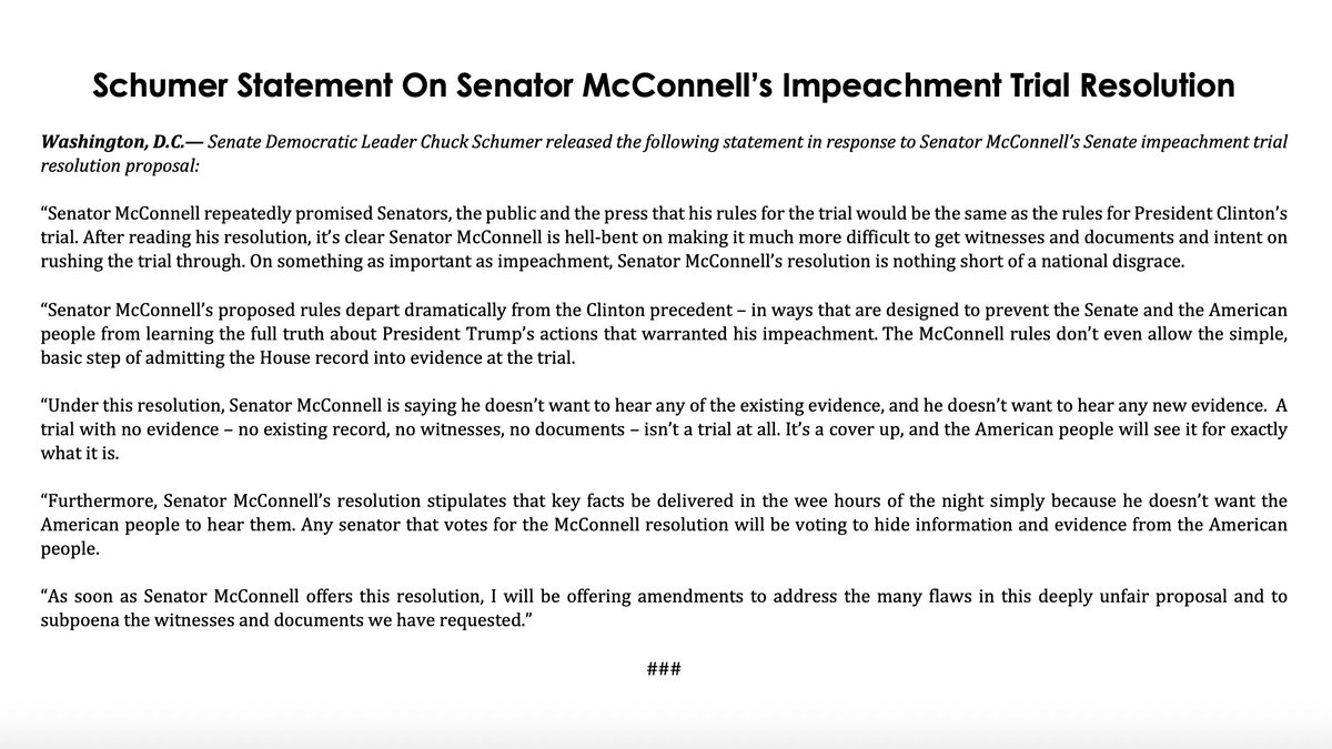 Under this resolution, Senator McConnell is saying he doesn't want to hear any of the existing evidence, and he doesn't want to hear any new evidence.A trial with no evidence—no existing record, no witnesses, no documents—isn't a trial at all.It's a cover up.
