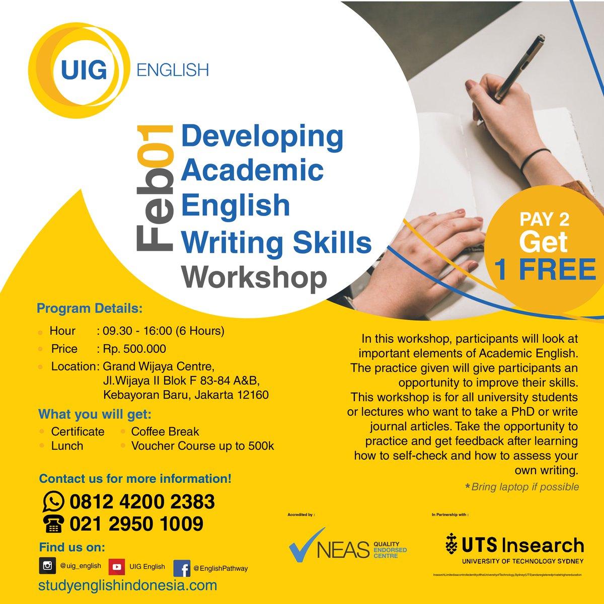 Developing Academic English Writing Skills  LIMITED SEATS!! For more information (+62) 813 4200 2383 (wa) (+62) 21 2950 1009 (office)  Or click the link on our bio!  #UIGEnglish #workshop #creativeminds #creative #becreative #kreatif #inovasi #jakarta #trending #trendingjakarta