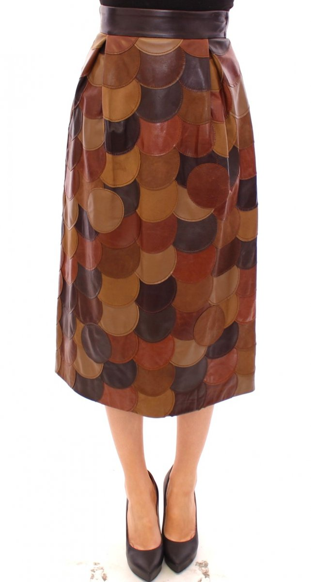 Brown Patchwork Leather Straight Skirt by Collection de prestige  Shop the collection at  . . .  #collectiondeprestige #luxury #fashionblogger #outfit #competition #modeling