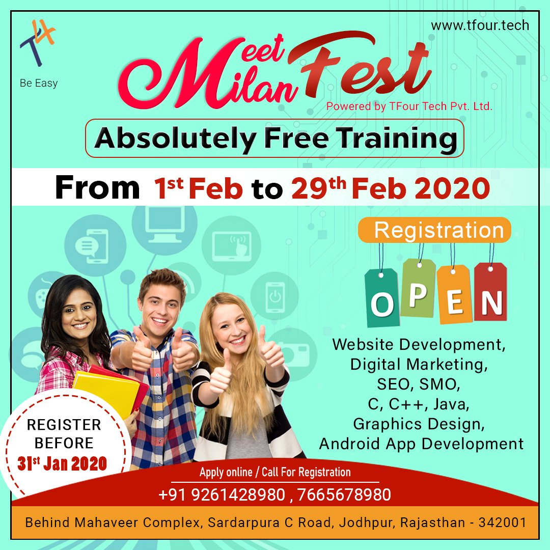 Don't miss out this opportunity, call now for registration to get absolutely free training   | Customer Care: +91 9261428980, 7665678980 | Registration online: http://tfour.tech  #meetmilan #meetmilanfest #tfour #tfourtech #training #websitedevelopment #seo #smopic.twitter.com/LetZGo8pvw