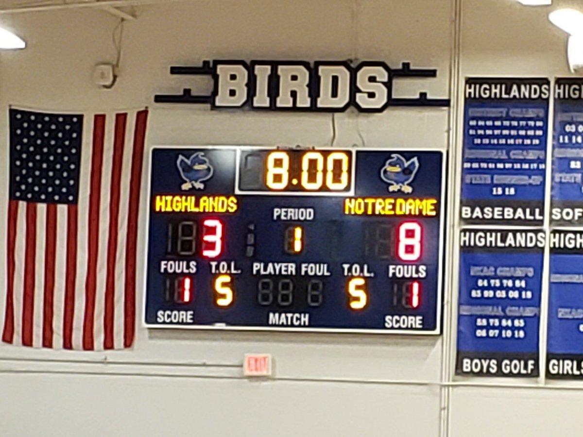 After 1 quarter of play at HHS @Birds_BBall trails Notre Dame 8-3. #gobirds@FTHighlandsHS @FTSchools @FTISSuper