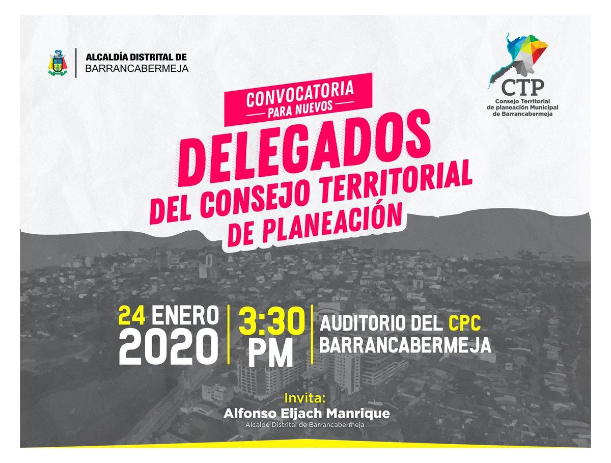 #Invitación  Este viernes 24 de enero, en el auditorio del CPC se realizará la elección de nuevos delegados para el Consejo Territorial de Planeación CTP, de los sectores: cooperativas; cultural y artístico; iglesia católica; pic.twitter.com/qO5SP6uhxw