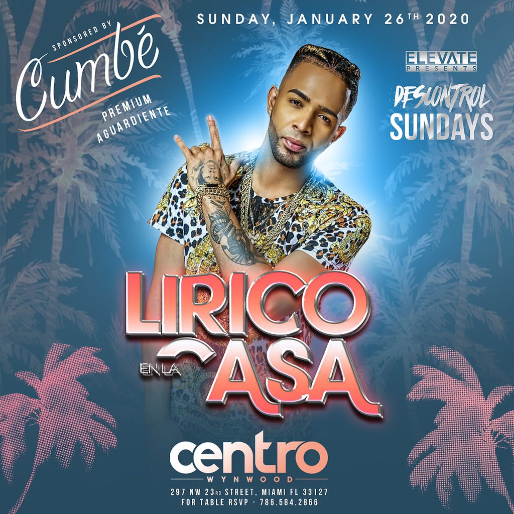 Lírico En La Casa this Sunday at #CentroWynwood sponsored by Cumbé premium Aguardiente !pic.twitter.com/Tkyv8EqdTl – at Centro Wynwood