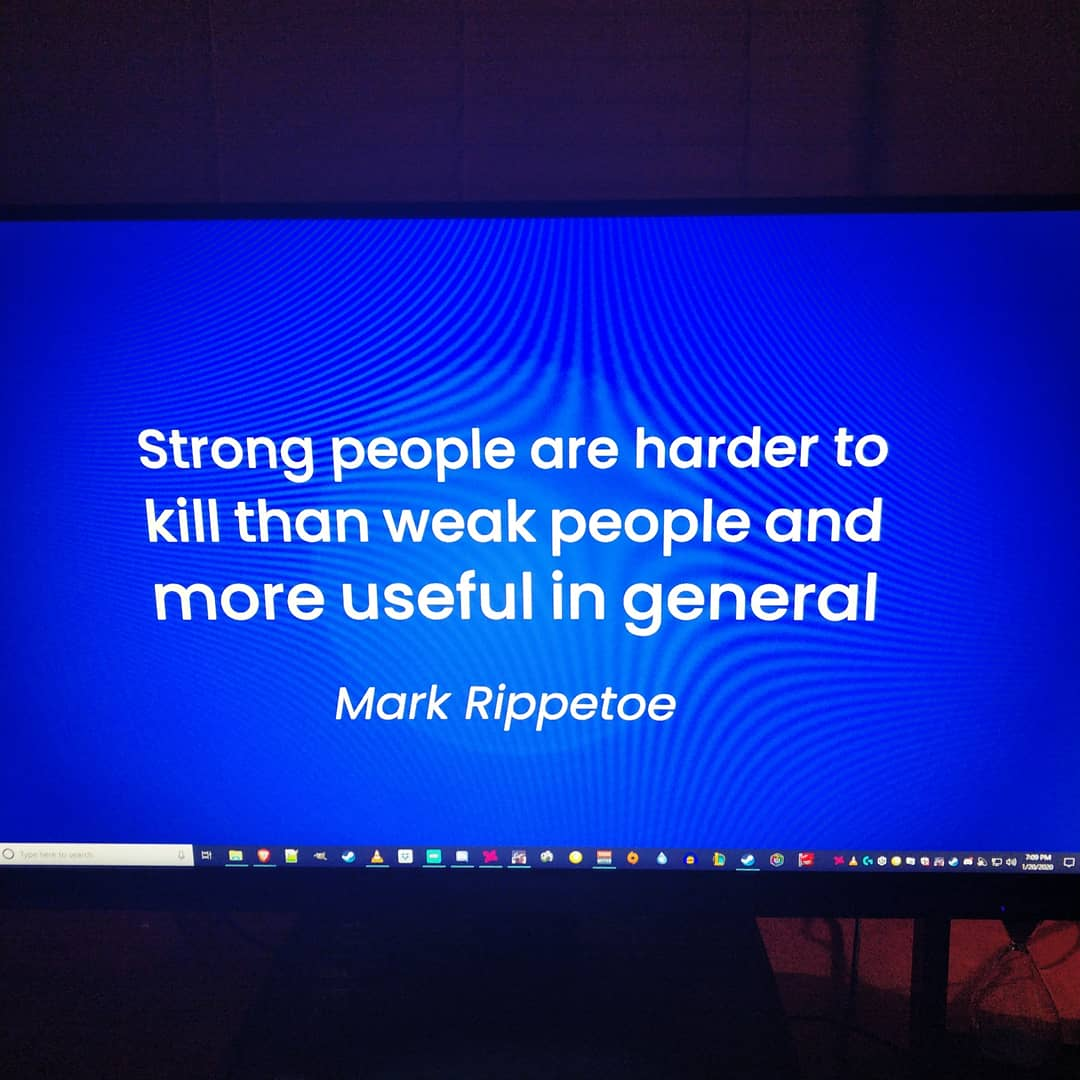 A quote to get cheeki breeki by.  LIVE NOW  Watch @ http://TWITCH.TV/WING_STR #ESCAPEFROMTARKOV #ARKSURVIVALEVOLVED #Gaming #GamingPosts #Gamingmeme #gamingpc #gamingcommunity #gamer #metal #videogames #trainhard #twitch #gamers #getstrong #stream #powerlifter #onlinepic.twitter.com/8rN5LKKfrW
