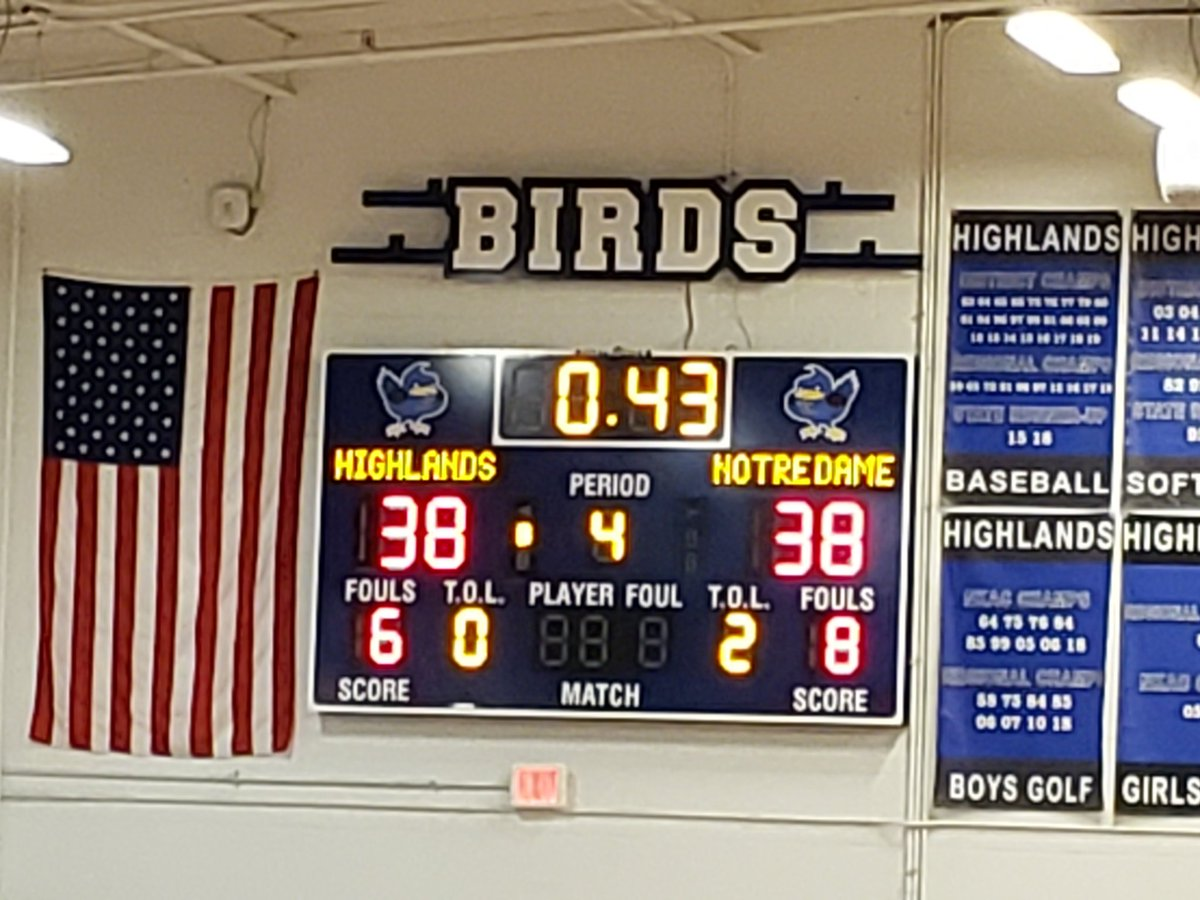 Four quarters is not enough! @Birds_BBall fights back to force overtime at HHS. #gobirds