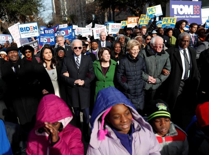 Democratic presidential candidates enjoy moment of harmony to mark King birthday https://reut.rs/2RvTn9u