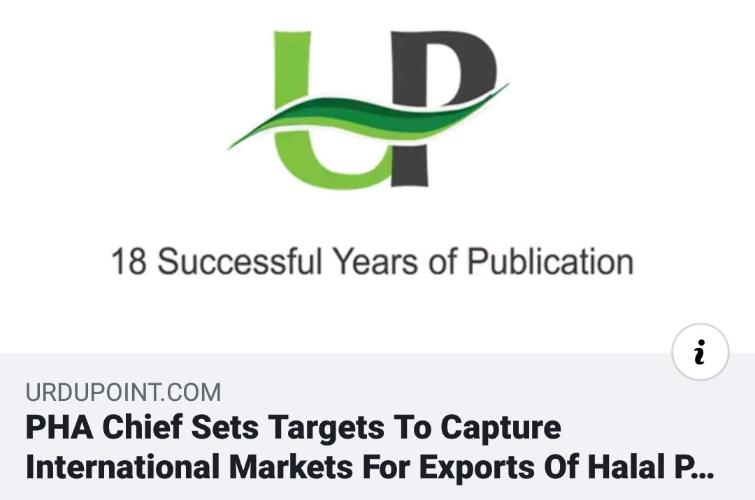 HALAL INFO:  PHA CHIEF SETS TARGETS TO CAPTURE INTERNATIONAL MARKETS FOR EXPORTS OF HALAL PRODUCTS  Read more, click here https://m.facebook.com/haenmarconsultancy/?notif_id=1579482003088001&notif_t=scheduled_post_published&ref=notif …  #Haenmar #HaenmarConsultancy #Jakim #Islam #ハラール #イスラム #ムスリム #urdupoint #Pakistan #PHA #Halal #Muslim
