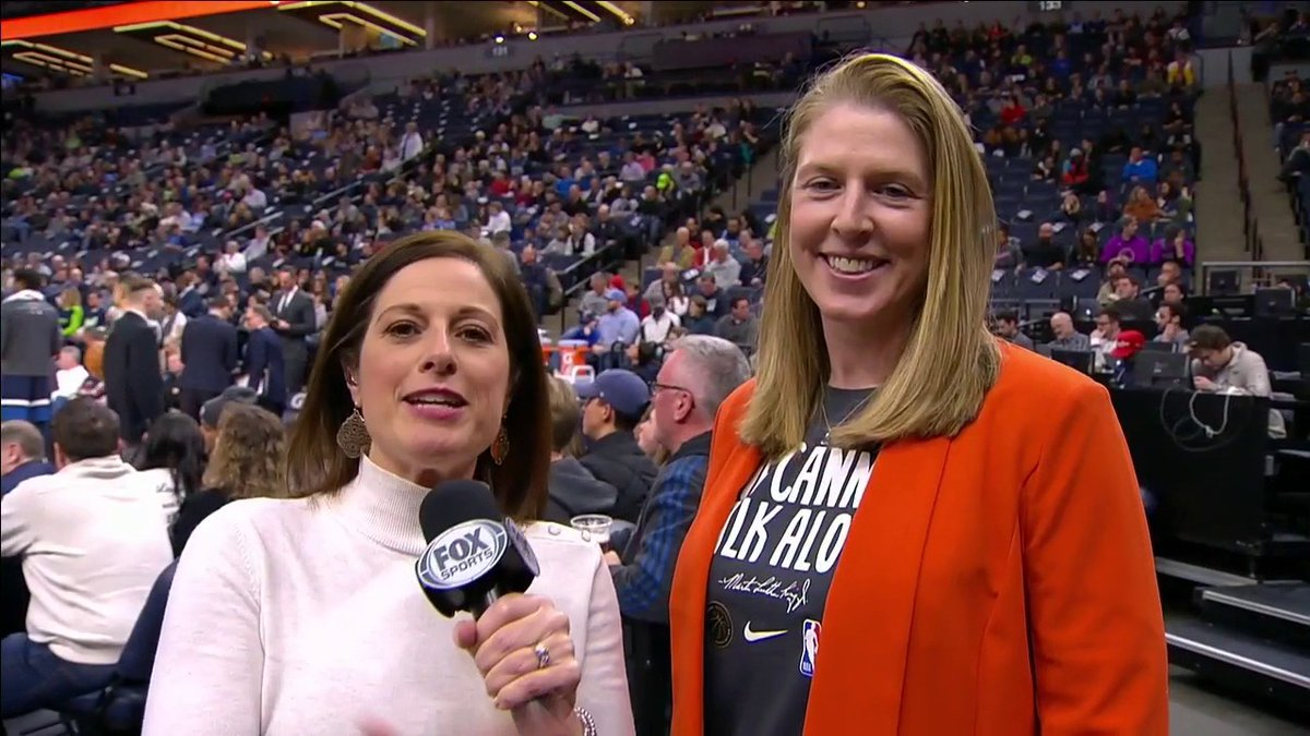 """""""It feels like a homecoming.""""  @MarneyGellner is joined by new @minnesotalynx assistant coach (and former Lynx star) @katiesmith30 at the Target Center!"""