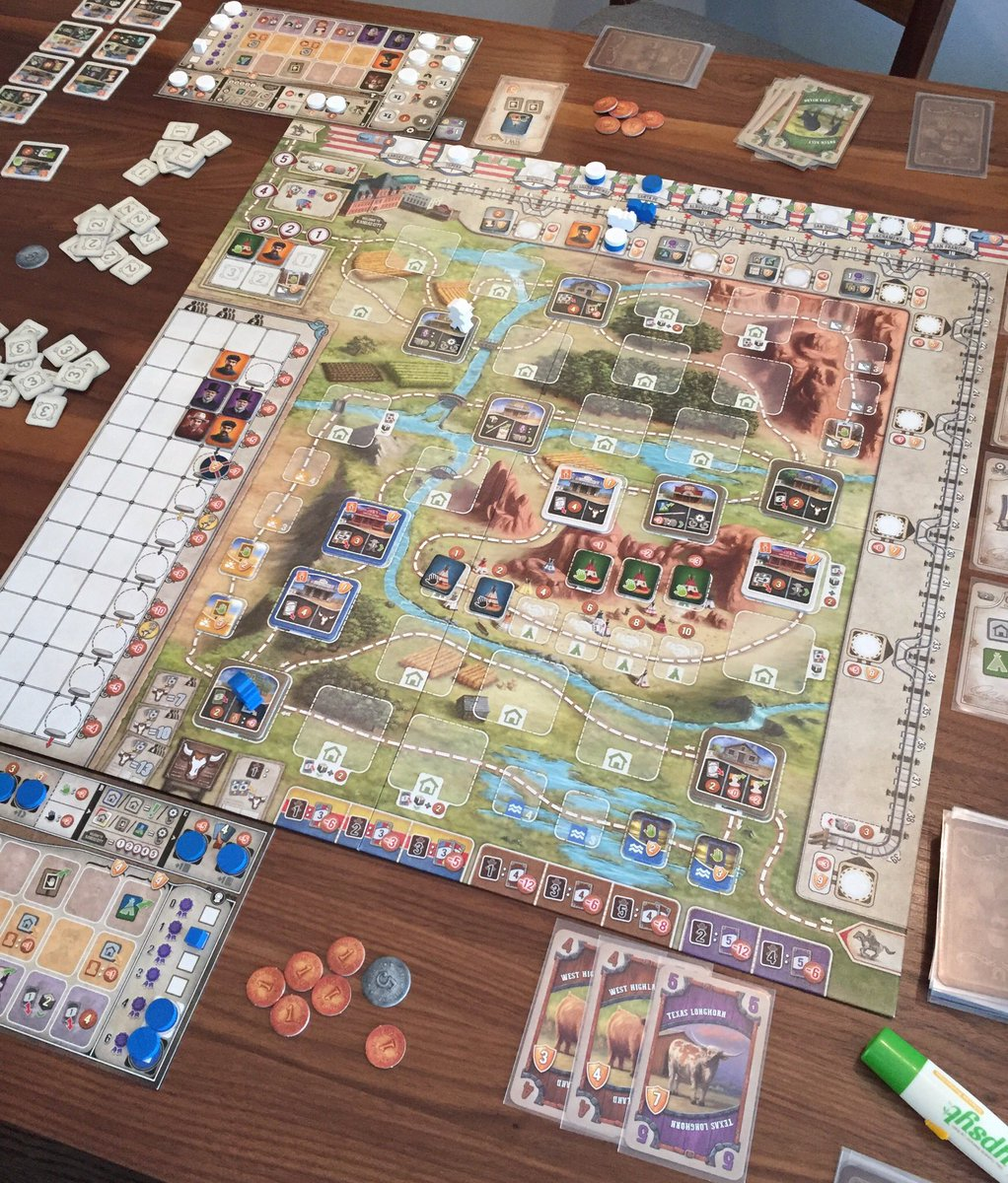 First plays of #GreatWesternTrail today. There's a LOT to think about in this game, that's coming from someone who loves Fields of Arle!  Second game went much smoother.  @StrongholdGames @AlexxPfister #boardgames #GWTpic.twitter.com/T2EvDIyJGy