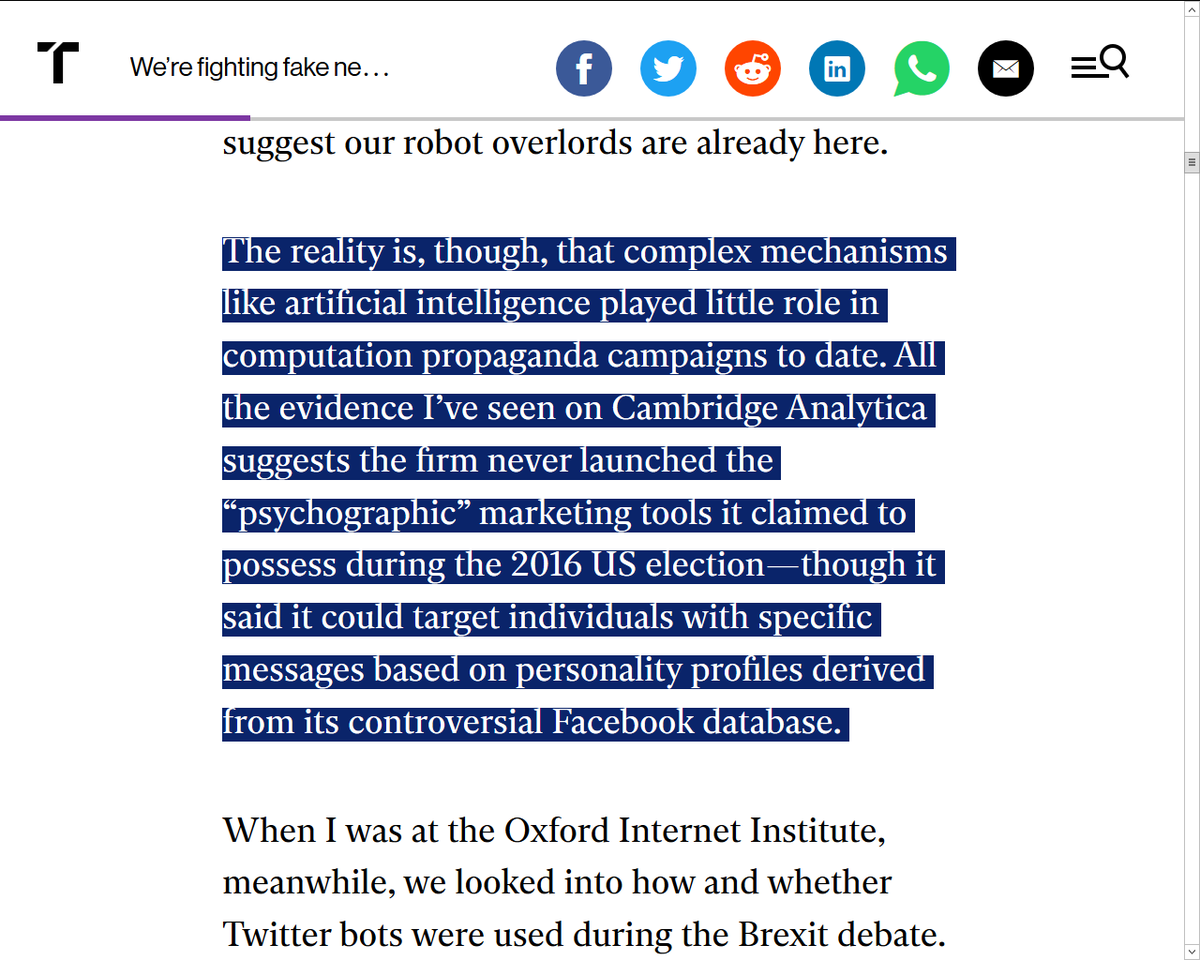 """Just starting in, but the technical understandings of the author foreshadow a must read for all political observers:  """"We're fighting fake news AI bots by using more AI. That's a mistake."""" by Samuel Woolley  @techreview - 08Jan2020 
