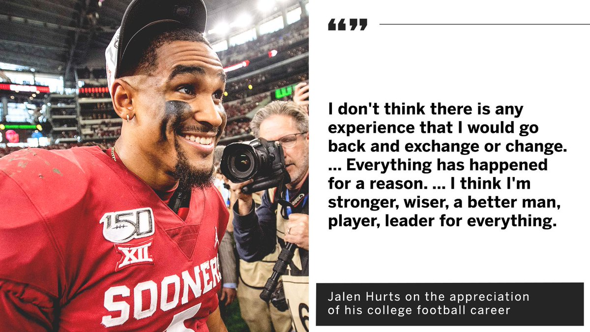 Jalen Hurts is grateful for his college football career