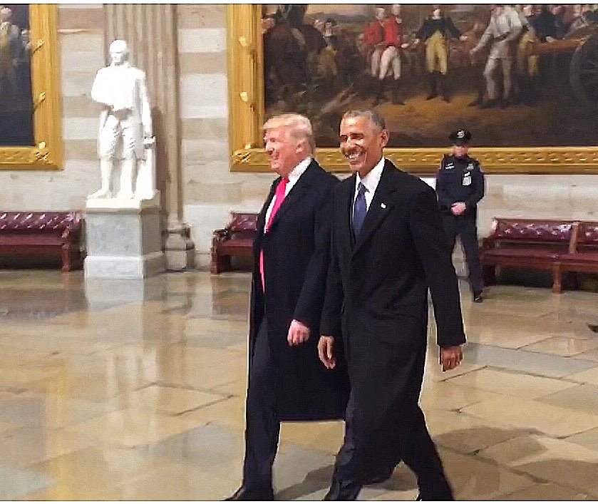 Three years ago on Jan 20, this was my view at the Capitol as @BarackObama and @realDonaldTrump walked through the Rotunda on Inauguration Day.   Time has moved swiftly.