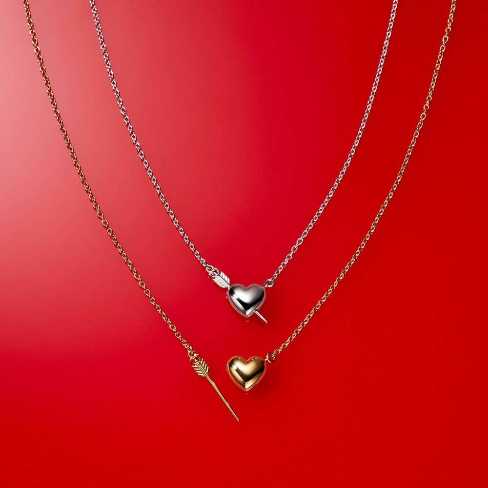 """ジャスティン デイビスのバレンタインジュエリー、ハートに""""キューピッドの矢""""がさすネックレスなど2/1から、オリジナルパッケージのDARSもプレゼント! -"""