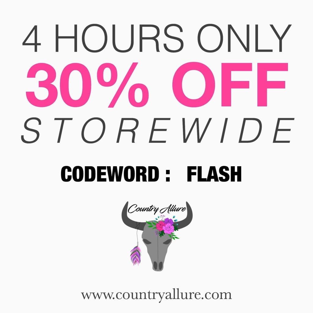🚨FLASH SALE HAPPENING NOW!🚨 Offer ends in 4 hours. Use codeword: FLASH. Check it out:  #countryallure #flashsale #cowhide #sale