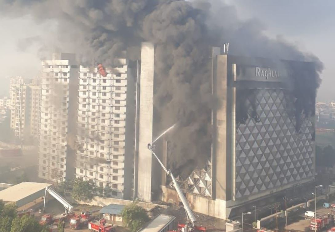 Major fire in 14 storey commercial building in Surat; one fireman injured