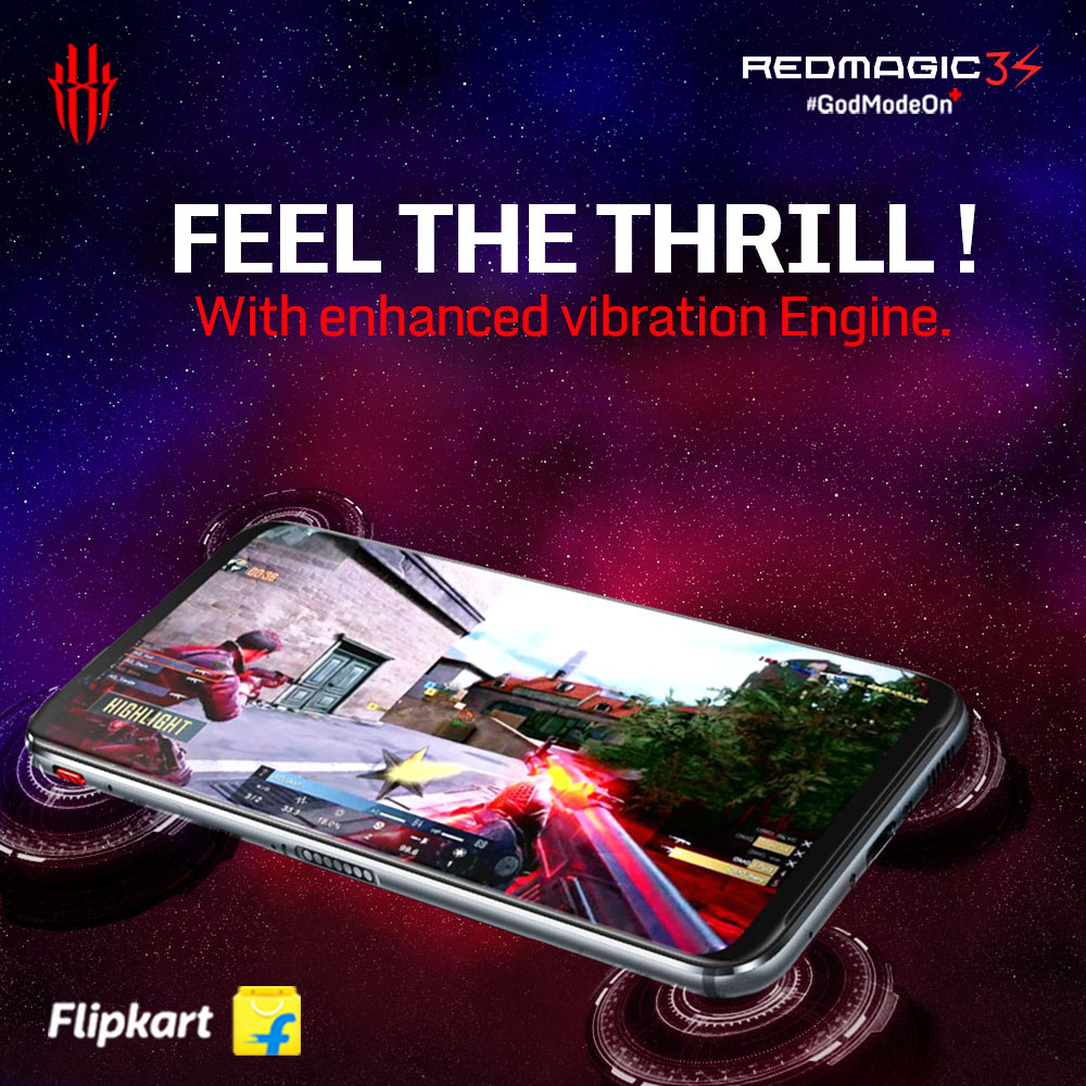 Feel the thrill with the Red Magic 3S' enhanced vibration engine.   Get yours now on Flipkart - http://Bit.ly/asdh  #GodModeOn+ #RedMagic3S pic.twitter.com/MhyL864IqO