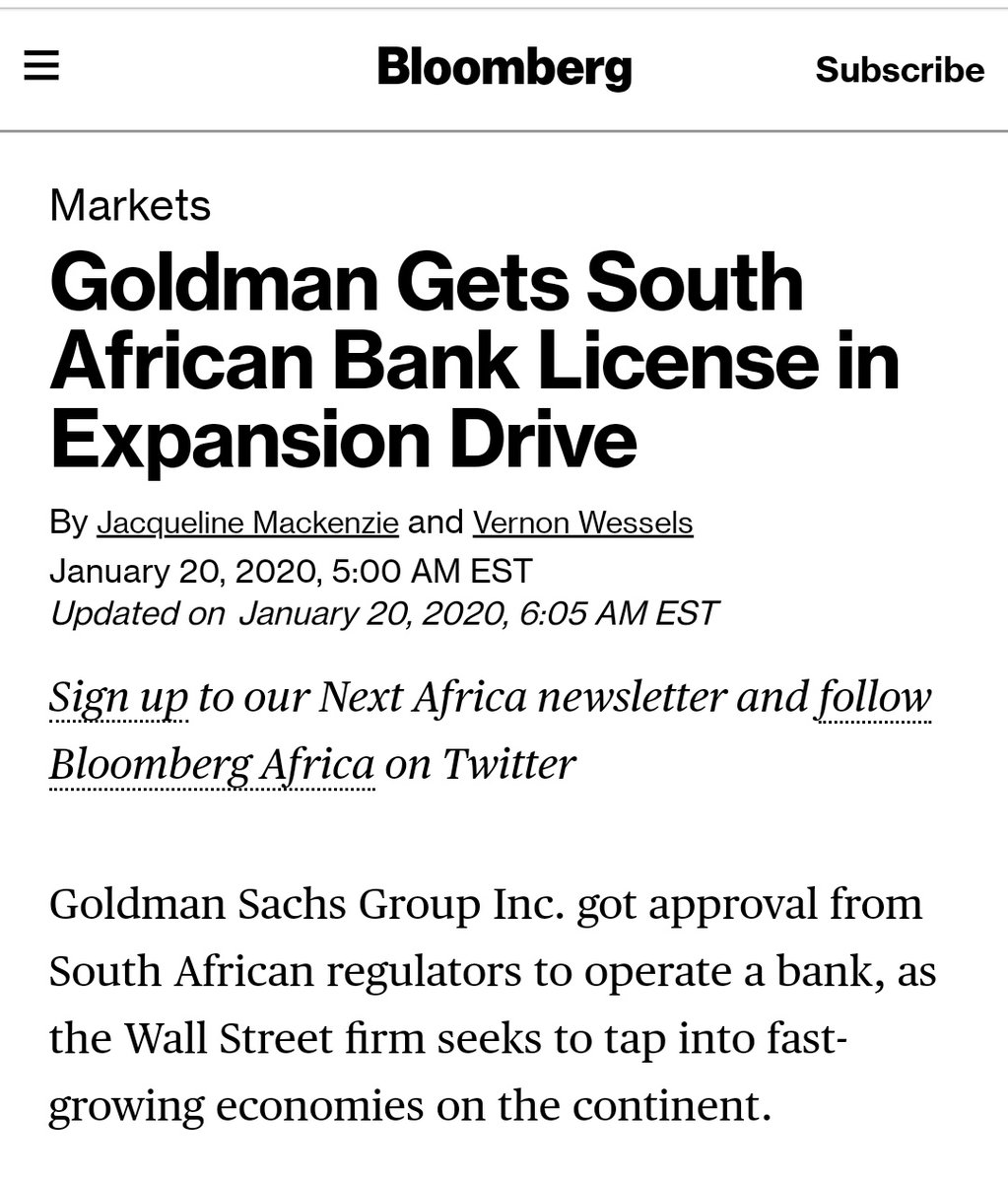 Image result for Sphithiphithi Evaluator @_AfricanSoil · Jan 21 Goldman Sachs gets SA bank license