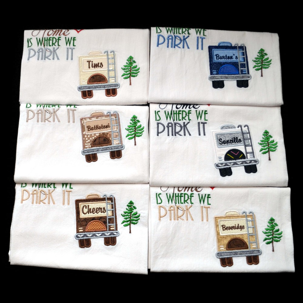 Camping Towels and RV dish drying mats and towels.  So cute and perfect for your camper, 5th wheel, trailer or tent. A must on your list for camping supplies.  #repost