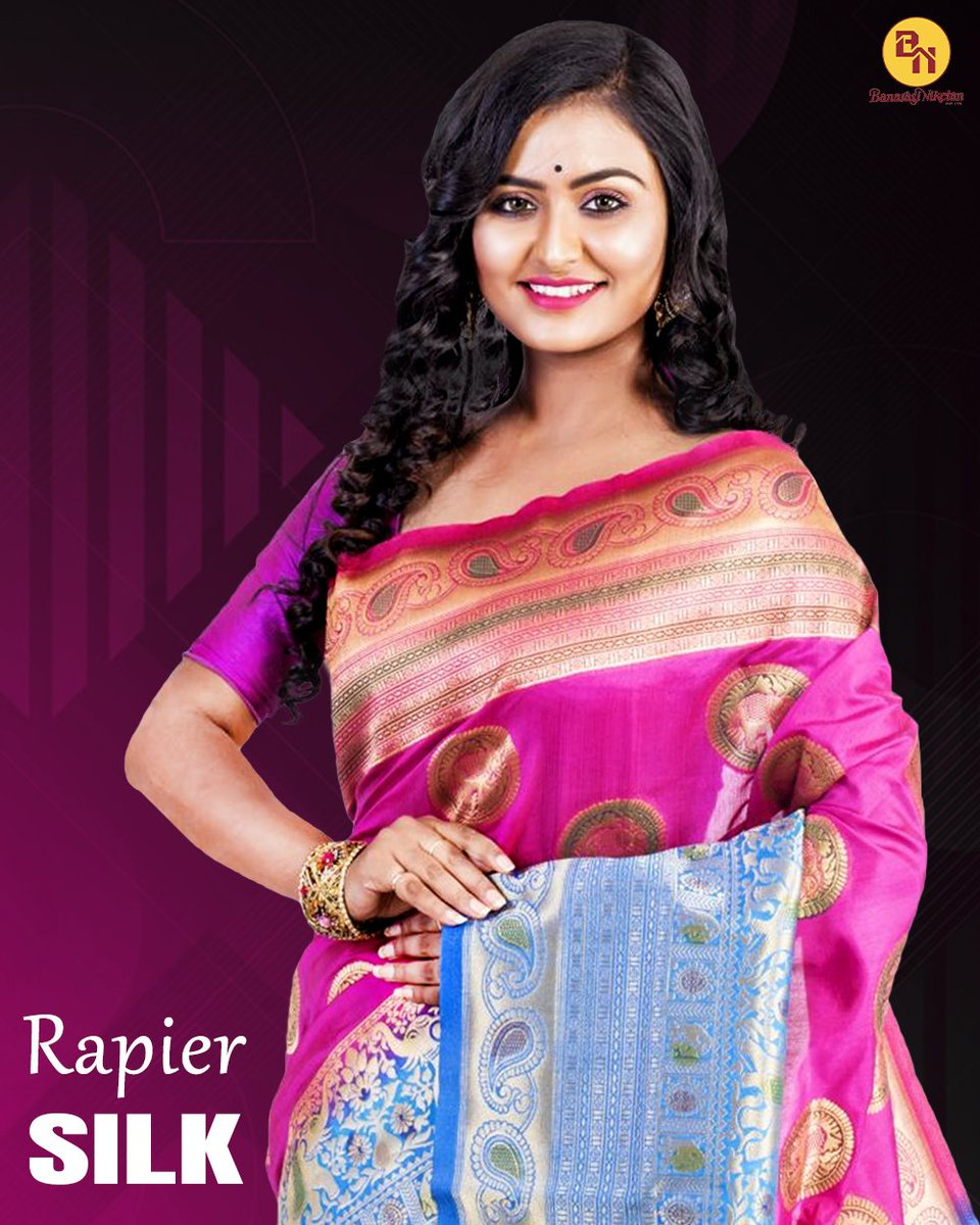 Lightweight rani color Rapier Silk Saree with a distinctive look and style. It's an exclusive partywear. Click here to order online 👉  . . #shopping #fashion #women #ethnicwear #Stylish #rapiersilk #partywear  #bridalwear #ranicolorsaree #pinksaree