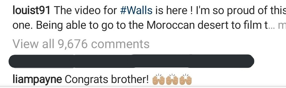 UPDATE || Louis' bandmate and friend Liam Payne commented on his #WallsMusicVideo post on Instagram.<br>http://pic.twitter.com/sEu89dbVwu