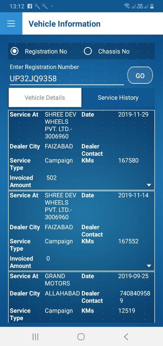 @TataMotors my Tiago number is UP32JQ9358 purchased on 26/01/18 I transfered to another city in 2018 but but my dealer open jobsheets sep2019 two times even my car not going to there & mentinon 160000 something kms but my car is reached less than 16000 kms. Warranty extend essue pic.twitter.com/1DxTiOqKkf