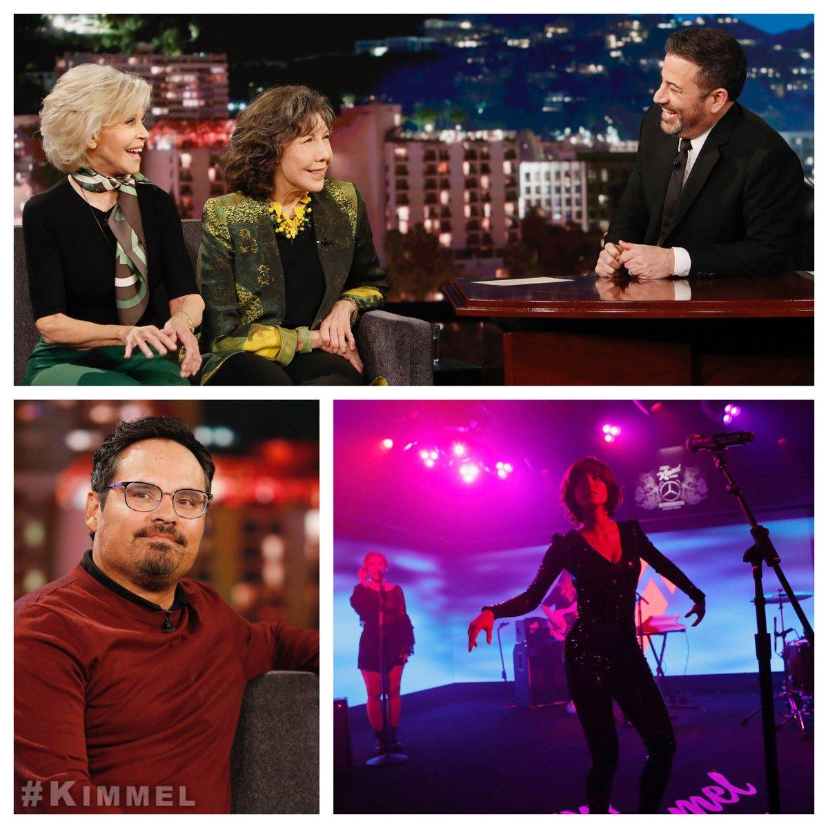 Tonight on #Kimmel  @LilyTomlin  & @JaneFonda  #GraceAndFrankie , @RealMichaelPena  #FantasyIslandMovie  and music from @MegMyers  on the @MercedesBenzUSA  stage #RunningUpThatHill