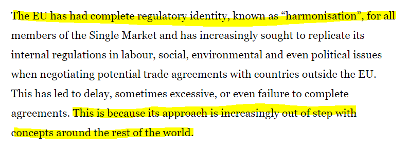 This paragraph is not correct though despite being the new Brexiteer mantra. The Single Market has multiple identities (recall all those Brexit supporting businesses proclaiming it didn't really exist in their area), and there's no global trend away from (or towards) EU approach