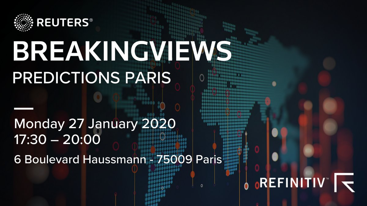 How can French companies expand abroad, but preserve their French legacy in the process? Join @Breakingviews and the bosses of Euronext, Eurazeo, Zaoui & Co and Technicolor in Paris on Jan. 27 for a high-level panel discussion on 2020.   RSVP here: https://refini.tv/36c4SIx