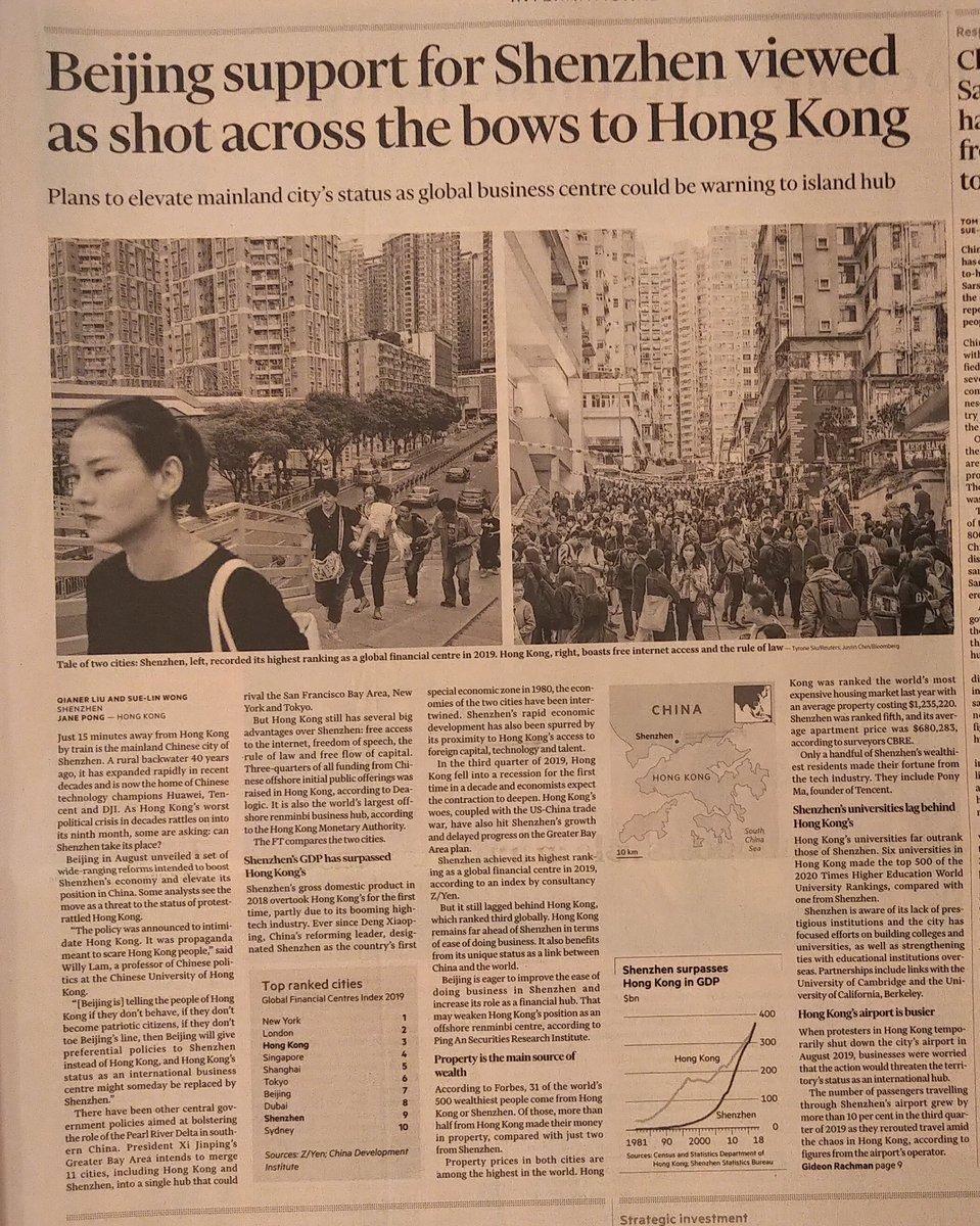 """#CinaComunista vuole """"punire"""" #HongKongers incoraggiando trasferimento a #Shenzhen delle attività finanziarie che sono la forza dell'economia di #HongKong. @GlobalCRL @joshuawongcf"""