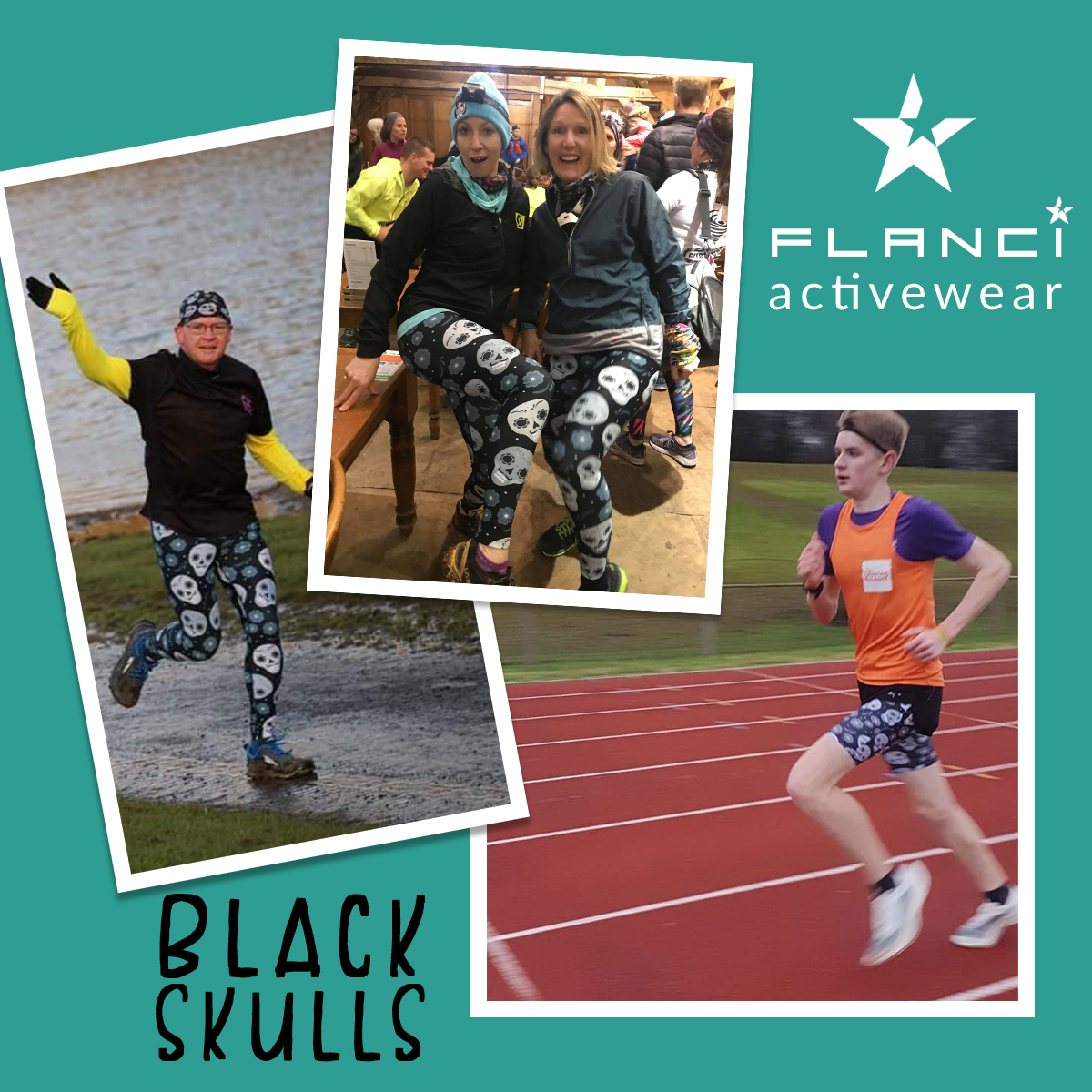 One pattern - three ways!  Our Black Skull design is perfect for men and women's activewear.  Being monochrome it works well with all your various tops but is so much more fun than boring plain black running tights. http://www.flanciactivewear.co.ukpic.twitter.com/DylK8BxXtt