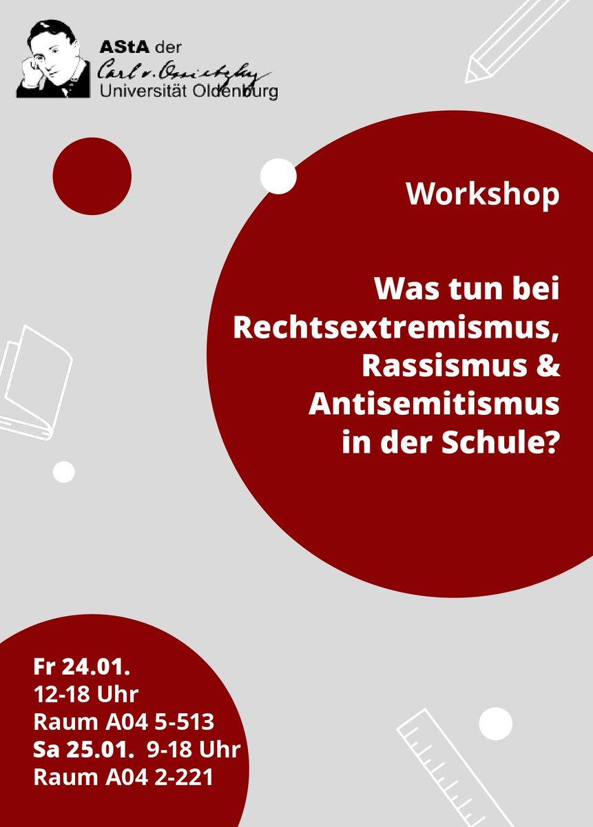 Was tun? Rassismus, Rechtsextremismus und Antisemitismus in der Schule. Vom AStA der Carl von Ossietzky Universität Oldenburg pic.twitter.com/IN8pRiBfiC