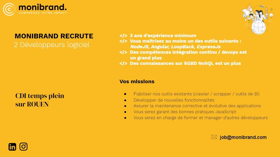 [#job] 📢 La #startup @monibrand, solution de surveillance de sa marque sur les régies publicitaires, recherche 2 #dev logiciel en…