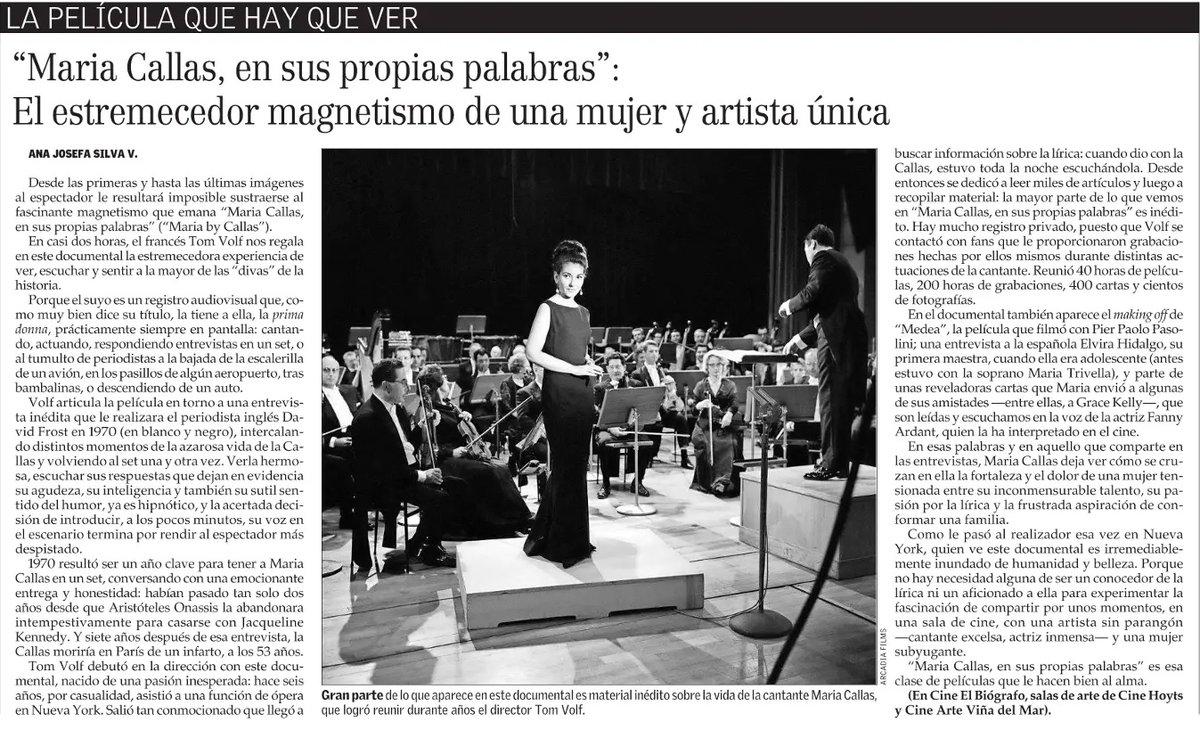 """HOY a las 19:00 Hrs @EXT_UCM exhibe, simultáneamente en #Talca (3 Norte 650) y #Curicó (Arturo Prat 220), MARÍA CALLAS EN SUS PROPIAS PALABRAS, premiado documental del que @ana_josefa dijo:  """"Es de esa clase de películas que le hacen bien al alma"""".  ¡ENTRADA LIBERADA! ¡No faltes!pic.twitter.com/QX2QrdCWU0"""