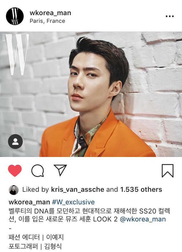kris Van Assche (Berluti Creative Director) liked these pics of #Sehun posted by Wkorea Man on instagram  #세훈 #SehunAtBerlutiPFW #SEHUNXBERLUTI <br>http://pic.twitter.com/aEsYnU19Qt