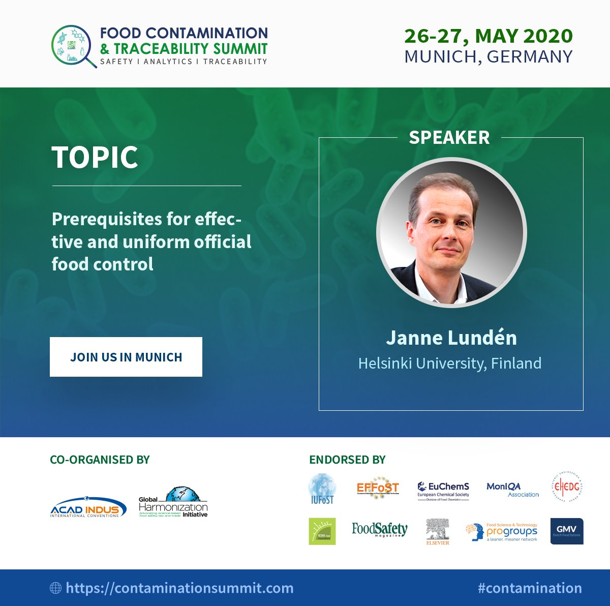 Our speaker Prof. Janne Lundén will be presenting on the Pre-requisites for effective & uniform official food control at the Food Contamination Summit, 26-27th May 2020, Germany.  Call for abstracts & posters closes on the 10th Feb!   Register NOW  at https://lnkd.in/demDmRH pic.twitter.com/SEA2TgmbF9