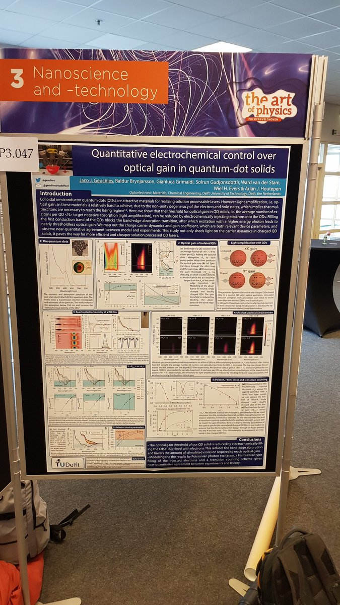 Want to learn about more efficient light amplification in nanocrystal solids, and other cool things we do at @ChemeTUDelft? Come see our quantum dots in charge at #Physics@Veldhoven #Dutchphysics: Poster 3.047 in the Kempenzaal! @ArjanHoutepenpic.twitter.com/MRYEYMYkc4