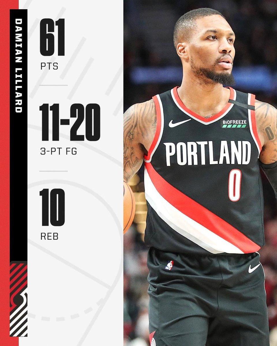 Los Trail Blazers vencieron 129-124 a los Warriors en la #NBAxESPN con una actuación descomunal de Damian Lillard. ¡61 puntos!