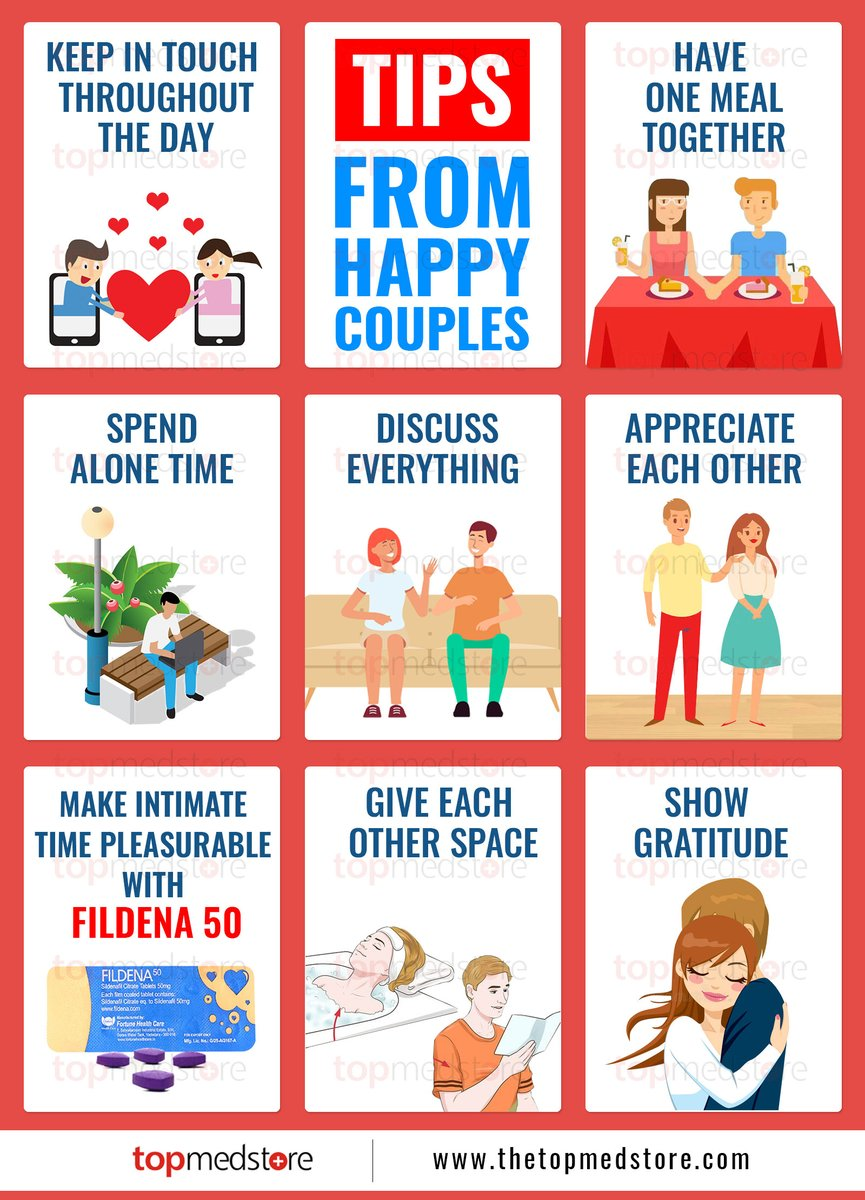 This infographic provide tips for #couples  to lead a joyful life. Fildena 50 #tops the list when imptoence is the #issues   Click here -->   #love #satisfaction #TuesdayMotivation #TuesdayThoughts #TuesdayMorning #tuesdayvibes #Dame #DelonteWest