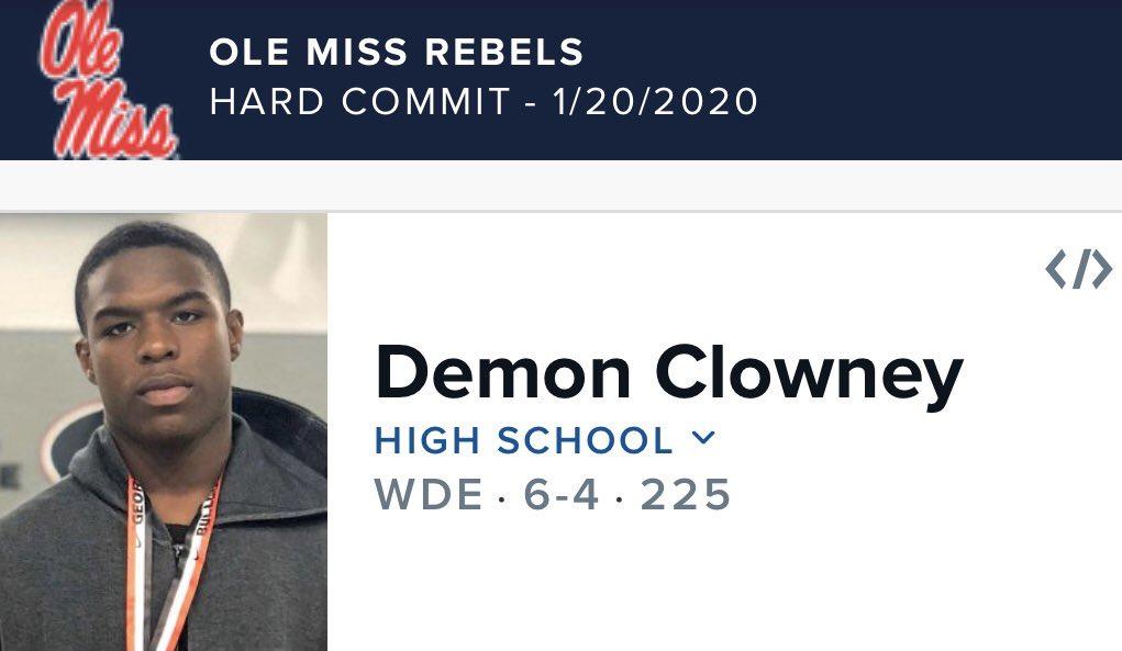 4 star DE Demon Clowney commits to Ole Miss... Demon Clowney is the Seattle #Seahawks DE Jadeveon Clowney's cousin...